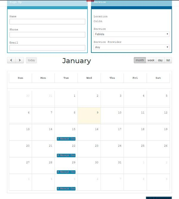 Visualizar mensual Ultimate Appointment Booking Scheduling